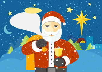 Happy Santa Claus with Speech Bubble for Text.