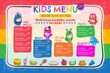 Cute colorful vibrant kids meal menu template
