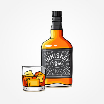 Bottle of whiskey and a glass