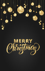 Black and gold Christmas background with glitter decoration. Hand drawn lettering