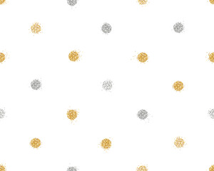 Shiny seamless background with golden and silver glitter dots decoration