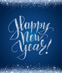 Happy new year card with glitter lettering