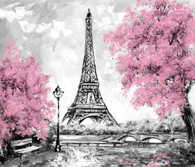 Fototapeta Oil Painting, Paris. european city landscape. France, Wallpaper, eiffel tower. Black, white and pink, Modern art obraz