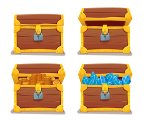 Treasure chest with gems and gold. vector illustration