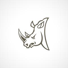 Head rhino line logo sign isolated
