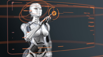 Futuristic fembot gynoid managing virtual interface in digital space