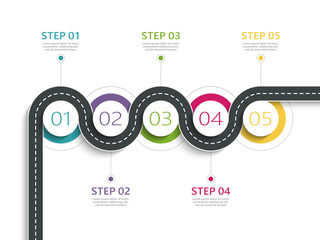 Winding road way location infographic template with a phased structure. Business circle template with options for brochure, diagram, workflow, timeline, web design. Vector EPS 10