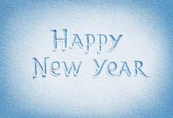 Happy New Year! Background of fresh snow texture in blue tone. High resolution product, top view