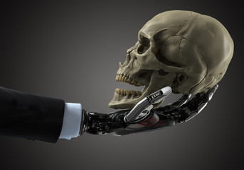 Business robotic arm holding human skull. Artificial intellegence concept