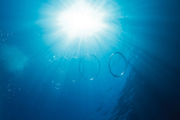 Air bubbles in shape of rings underwater of blue sea in light of sun