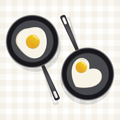 Fried egg in a frying pan. Vector illustration.