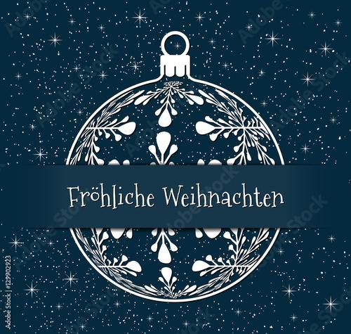 German christmas greeting card white silhouette of christmas ball german christmas greeting card white silhouette of christmas ball with text frohliche weihnachten on snowy m4hsunfo