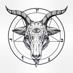 Pentagram with demon Baphomet, Satanic goat head.