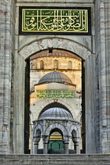 Entrance to inner courtyard of the Blue Mosque, built in Sultan Ahmet I in 1609, designed by architect Mehmet Aga, Istanbul, Turkey, Europe