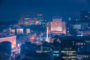Kiev, Ukraine: aerial night view of Maidan Nezalezhnosti, Independence Square