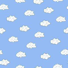 Unusual seamless pattern with cute sleeping clouds. Good night!