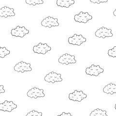 Interesting seamless pattern with cute sleeping clouds. Good nig