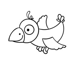 Awesome cartoon little flying bird, crow.