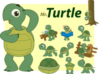 Vector illustration of Turtle cute cartoon