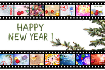 Happy New Year. Celebration. Winter Holidays. Christmas tree decorations. Fireworks,fairy stars and sparkles. Festive images designed in film strip. Isolated on white background