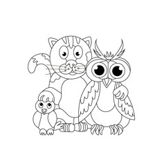 Friendly company. Cat, owl and titmouse. Coloring book. Friendsh