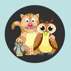 Friendly company. Cat, owl and titmouse.  Friendship. - Stock ve