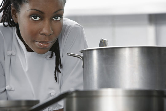 Closeup of an African American female chef in the kitchen