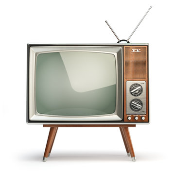 Retro TV set isolated on white background. Communication, media