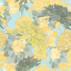 repeat chrysanthemum vector background