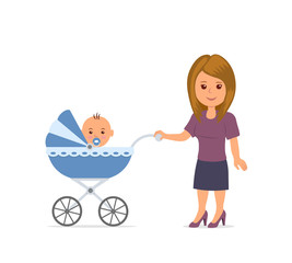 Mother with toddler in the pram. Mom and baby isolated on the white background. Baby sitting in stroller. Motherhood. Mother walking with a stroller.