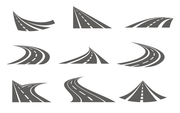 Monochrome Curvy Roads Set