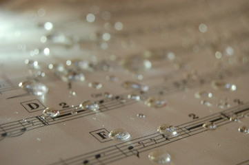 water drops on a music sheet