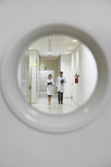 View from window in door of male and female scientists walking down hallway