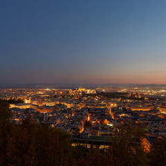 Athens Greece, view in the dusk from the northern part of Acropolis