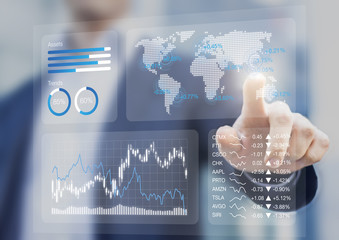 Financial dashboard, key performance indicators, charts, stock market prices