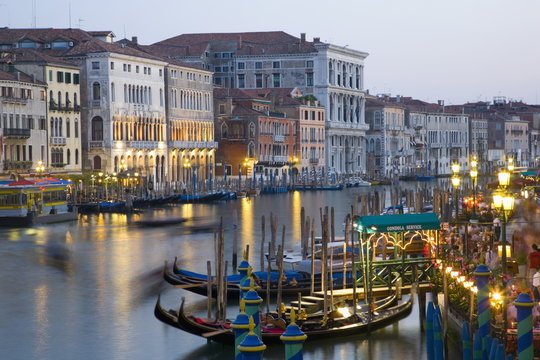 View from the Ponte di Rialto along the Grand Canal at dusk, San Polo district, Venice, Veneto