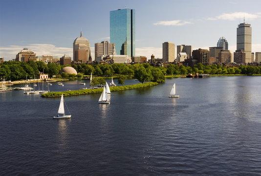 City skyline from the Charles River, Boston, Massachusetts, USA