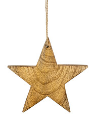 Brown wooden Christmas star tag hanger isolated on white