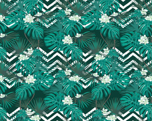 Turquoise tropical leaves and white flowers. Exotic seamless pattern. Vector botanical print. Zigzag background.