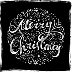 Merry Christmas card with white chalk freehand lettering and line art drawing.