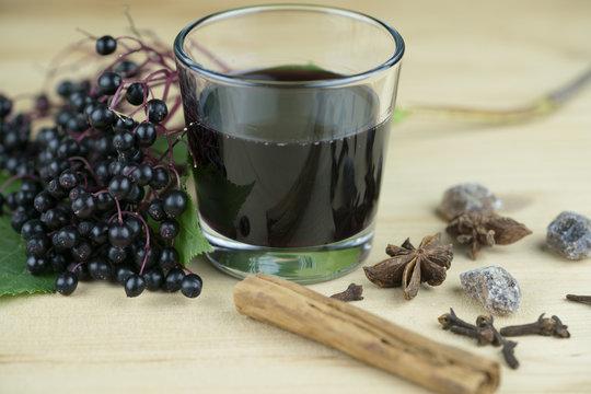 Fresh elderberry juice with spices