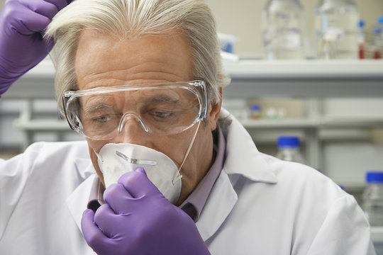 Closeup of a mature male scientist putting on safety mask in laboratory