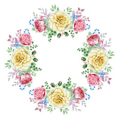 Watercolor rose wreath isolated on white background