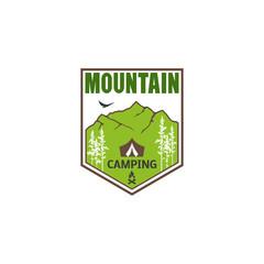 Logo, emblem mountain camping.