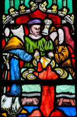 Stained Glass - Antisemitic legend of Jews stealing sacramental