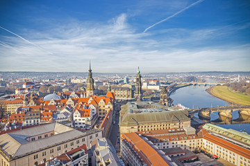 Aerial panoramic view of Old Town in Dresden, Saxony, Germany