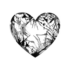 Vector watercolor heart on white background.