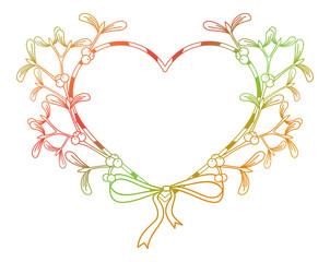 Heart-shaped frame and mistletoe. Copy space.