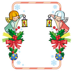 Christmas frame with cute angels.