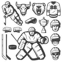 Vintage Hockey Elements Set